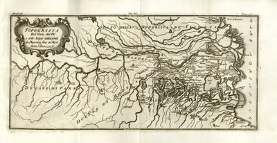 Historical map of Reggio and Modena plain, year 1716