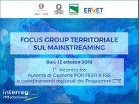 A Bari il 1° Focus Group sul mainstreaming